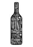 Testo dell'iscrizione del manifesto di tipografia in bottiglia di vino della siluetta Illustrazione d'annata dell'incisione di ve Fotografie Stock Libere da Diritti