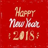 Testo dell'iscrizione della mano del buon anno 2018 su fondo rosso Vector la cartolina d'auguri per la carta del nuovo anno, il m Immagini Stock