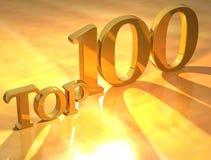 Testo dell'oro del principale 100 Fotografie Stock Libere da Diritti
