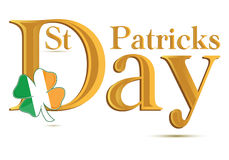 Testo dell'oro di giorno di St.Patrick Fotografia Stock