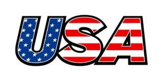 Testo della bandiera di U.S.A. Immagini Stock