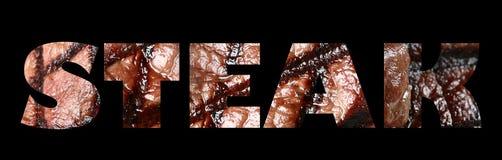 Testo della bistecca Immagine Stock