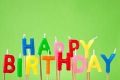 Testo della candela di buon compleanno Fotografia Stock Libera da Diritti