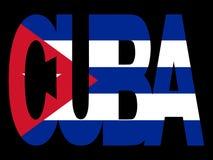 Testo della Cuba con la bandierina illustrazione di stock