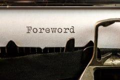 Testo della prefazione scritto dalla vecchia macchina da scrivere Fotografie Stock