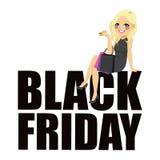 Testo della ragazza di modo di Black Friday Fotografia Stock Libera da Diritti