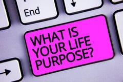 Testo della scrittura che cosa è la vostra domanda di scopo di vita Il concetto che significa gli obiettivi personali della deter illustrazione vettoriale
