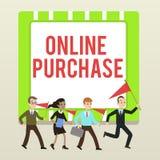 Testo della scrittura che scrive acquisto online Il significato di concetto acquista le merci di commercio elettronico da su Inte illustrazione di stock