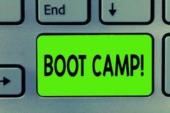 Testo della scrittura che scrive Boot Camp Concetto che significa il campo di addestramento militare per forma fisica dura di dis fotografia stock libera da diritti