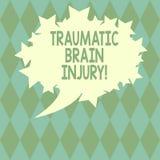 Testo della scrittura che scrive Brain Injury traumatico Insulto di significato di concetto al cervello da un ovale in bianco del royalty illustrazione gratis