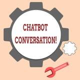 Testo della scrittura che scrive conversazione di Chatbot Significato di concetto che chiacchiera con l'intelligenza artificiale  illustrazione di stock