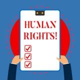 Testo della scrittura che scrive i diritti di Huanalysis Concetto che significa l'uguaglianza di combattimento per la vostra indi royalty illustrazione gratis