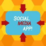 Testo della scrittura che scrive il App sociale di media Creazione di significato di concetto e dividere gli interessi di carrier royalty illustrazione gratis