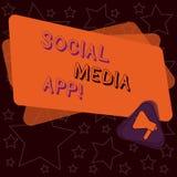 Testo della scrittura che scrive il App sociale di media Creazione di significato di concetto e dividere gli interessi di carrier illustrazione di stock