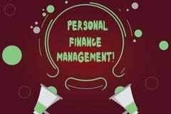 Testo della scrittura che scrive la gestione di finanza personale Reddito di significato di concetto, spese e megafono analysisag fotografia stock