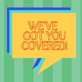 Testo della scrittura che scrive la VE vi abbiamo ottenuto coperto Concetto che significa settore assicurativo e protezione demon royalty illustrazione gratis