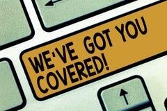 Testo della scrittura che scrive la VE vi abbiamo ottenuto coperto Concetto che significa settore assicurativo e protezione demon illustrazione di stock