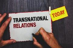 Testo della scrittura che scrive le relazioni sopranazionali Manopola internazionale b di diplomazia di relazione di politica glo immagine stock libera da diritti