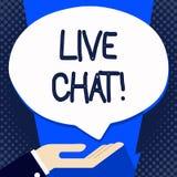 Testo della scrittura che scrive Live Chat Conversazione di significato di concetto sulla comunicazione su mezzi mobili di multim illustrazione di stock