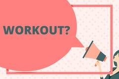 Testo della scrittura che scrive Workoutquestion Attività di significato di concetto per l'esercitazione di addestramento di cult royalty illustrazione gratis