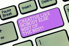 Testo della scrittura creativo come nessuno concetto di Else Best Of The Best che significa chiave di tastiera di creatività di a immagine stock libera da diritti
