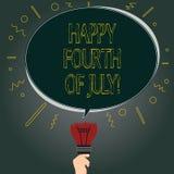 Testo della scrittura felice il quarto luglio Concetto che significa ovale dello spazio in bianco di celebrazione di festa dell'i illustrazione di stock