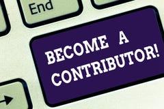 Testo della scrittura trasformato in in un contributore Il significato di concetto partecipa sul donare la chiave di tastiera di  illustrazione di stock