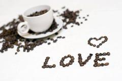 Testo della tazza di caffè - ?amore? Fotografie Stock