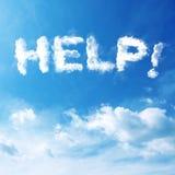 Testo di aiuto della nuvola Fotografie Stock Libere da Diritti