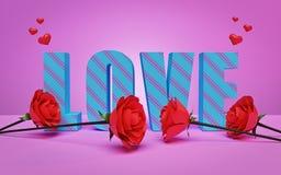 Testo di amore con le rose rosse rappresentazione 3d royalty illustrazione gratis