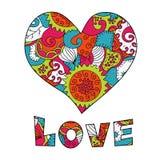 Testo di amore e del cuore Fotografia Stock