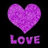 Testo di amore e del cuore Immagine Stock