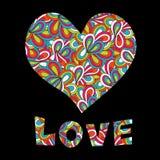 Testo di amore e del cuore Immagini Stock Libere da Diritti