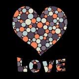 Testo di amore e del cuore Fotografie Stock Libere da Diritti
