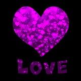 Testo di amore e del cuore Fotografia Stock Libera da Diritti