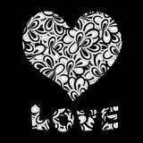 Testo di amore e del cuore Immagini Stock