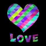 Testo di amore e del cuore Fotografie Stock
