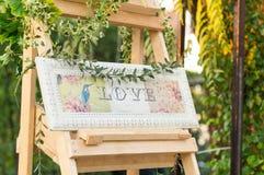 Testo di amore nel telaio d'annata Fotografie Stock Libere da Diritti
