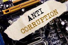 Testo di annuncio della scrittura che mostra anti corruzione Concetto di affari per il testo corrotto di corruzione scritto sulla fotografia stock
