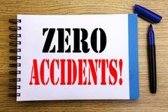 Testo di annuncio della scrittura che mostra gli incidenti zero Concetto di affari per sicurezza sul posto di lavoro il rischio s fotografia stock libera da diritti