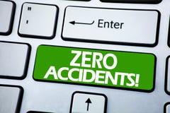 Testo di annuncio della scrittura che mostra gli incidenti zero Concetto di affari per sicurezza sul posto di lavoro il rischio s fotografie stock libere da diritti