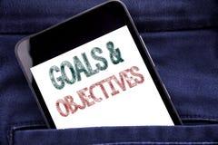Testo di annuncio della scrittura che mostra gli obiettivi di scopi Concetto di affari per il telefono cellulare del telefono scr Fotografia Stock