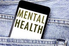Testo di annuncio della scrittura che mostra la salute mentale Concetto di affari per il telefono cellulare del telefono scritto  fotografie stock libere da diritti