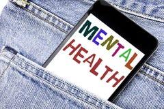 Testo di annuncio della scrittura che mostra la salute mentale Concetto di affari per il telefono cellulare del telefono scritto  immagine stock libera da diritti