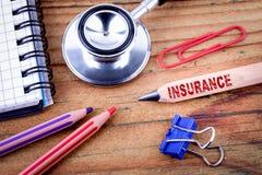 Testo di assicurazione sulla matita fotografia stock