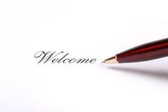 Testo di benvenuto di scrittura della penna Fotografia Stock
