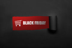 Testo di Black Friday e del carrello Fotografia Stock