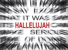 Testo di Blured con il fuoco sulla HALLELUJAH immagine stock