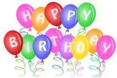 Testo di buon compleanno sugli aerostati illustrazione di stock