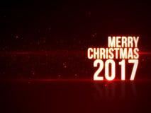 Testo di Buon Natale 2017 con belle luce rossa e particelle con la riflessione Fotografie Stock Libere da Diritti